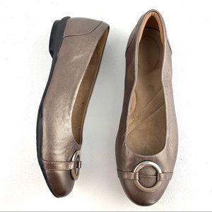 Clark's Artisan Bronze Leather Ballet Flats 8W